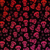Candy Apple Red Sugar Skulls on Black Dichroic Glass 96 COE