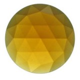 Glass Jewel, Round Faceted Light Amber 25mm