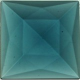 Glass Jewel, Square Faceted Steel Blue 40mm