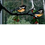 Stained Glass Chickadee Pair on Branch