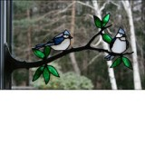 Stained Glass Tufted Titmouse Pair on Branch