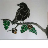 Stained Glass Crow on Branch