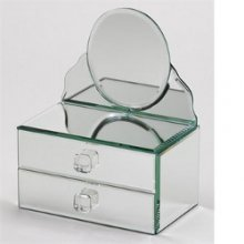 Aphrodite Two Drawer Oval Mirror Box