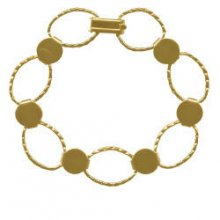 Gold Plated Disk and Loop Bracelet