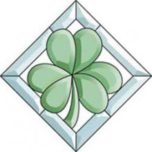 Shamrock Glass Bevel Cluster with Clear Border