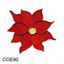 Red Poinsettia Precut Fusible Glass Shape 90 COE