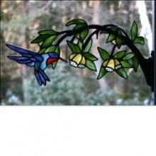 Stained Glass Hummingbird on Branch