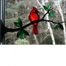 Stained Glass Cardinal on Branch
