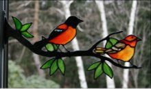 Stained Glass Baltimore Oriole Pair on Branch