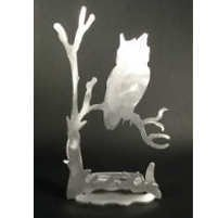 Owl Brushed Aluminum Art Stand