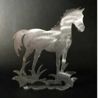 Horse Brushed Aluminum Art Stand