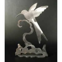 Hummingbird Brushed Aluminum Art Stand