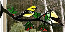 Stained Glass Goldfinch Pair on Branch