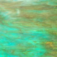 Armstrong White with Aqua, and Amber Streaky Art Glass