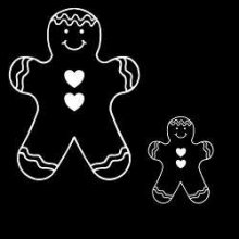 Large Gingerbread Man Decal  White