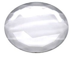 Glass Jewel, Oval Faceted Crystal Clear 40mm x 30mm