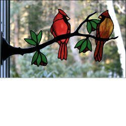 Stained Glass Cardinal Pair on Branch