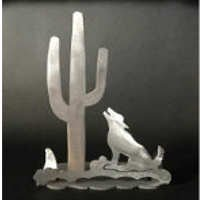 Cactus with Coyote Brushed Aluminum Art Stand
