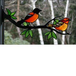 Window Frame Birds Kit  Baltimore Oriole Pair